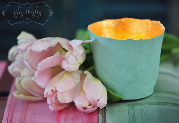 paper mache tea light from {nifty thrifty things}