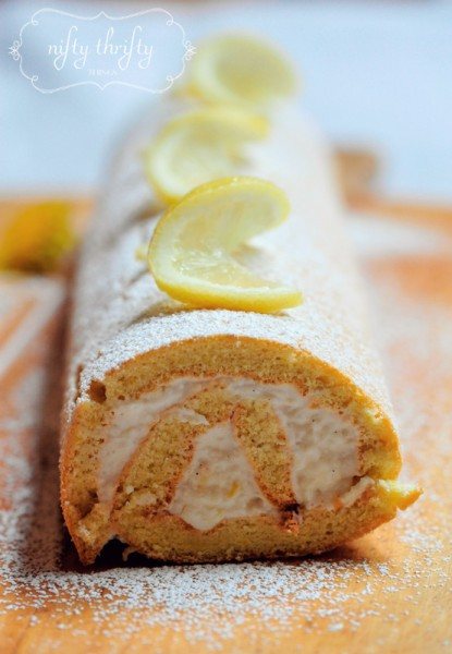 lemon cake roll from {nifty thrifty things}