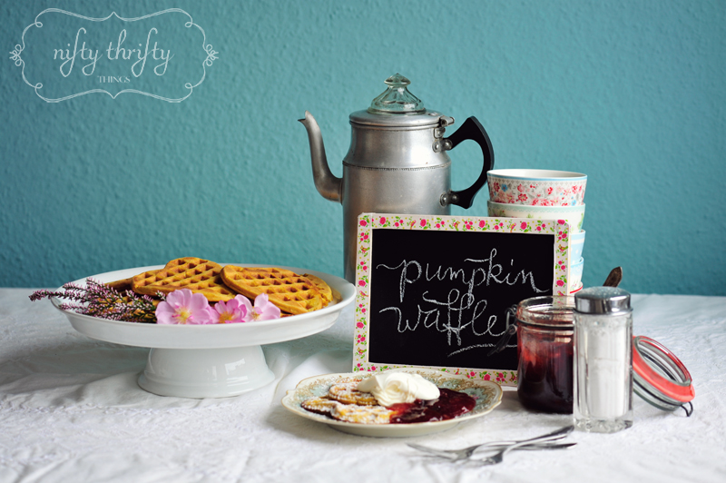 thanksgiving dessert idea: pumpkin waffles from {nifty thrifty things}