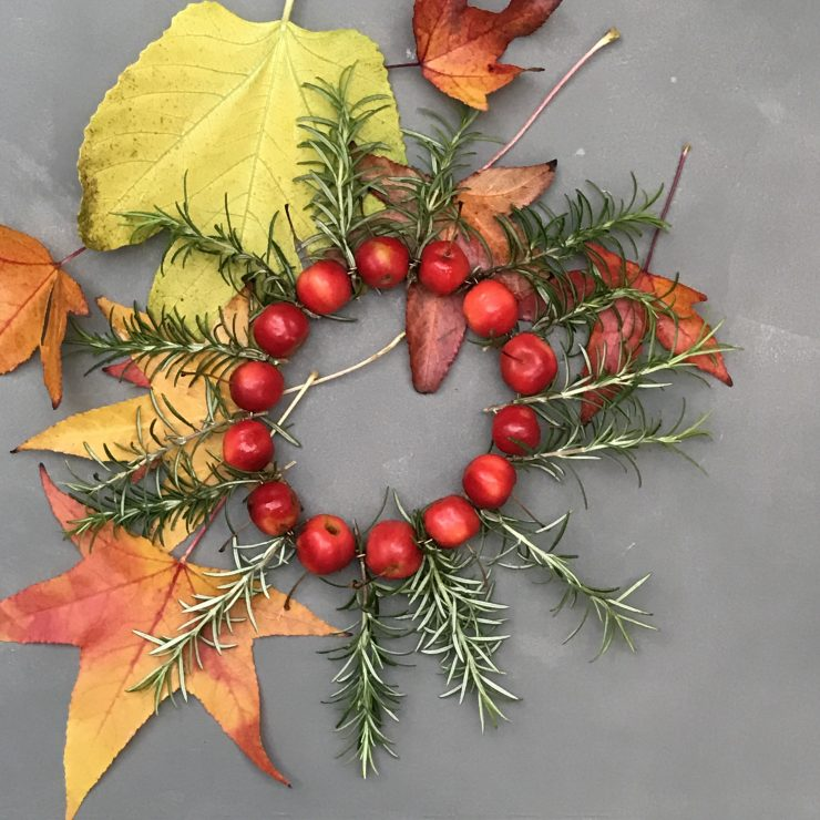DIY Fall Wreath Made of Crab Apples & Rosemary from {nifty thrifty things}