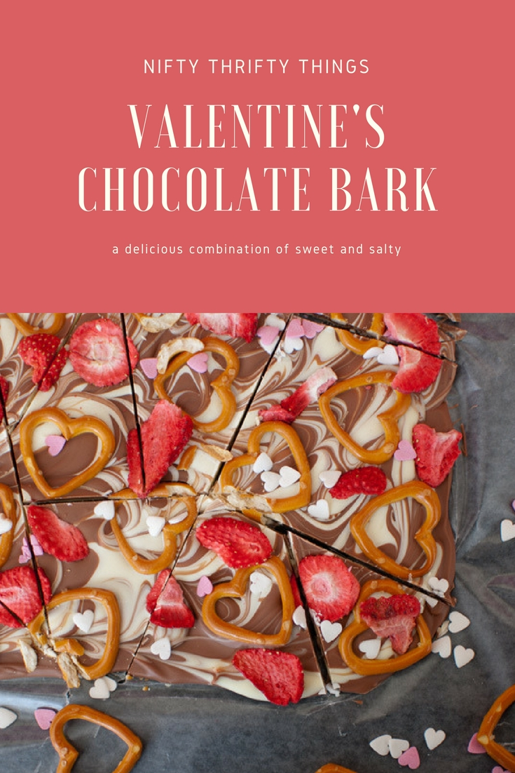 Valentine's Day Chocolate Bark with Pretzels and Dried Strawberries from {nifty thrifty things}